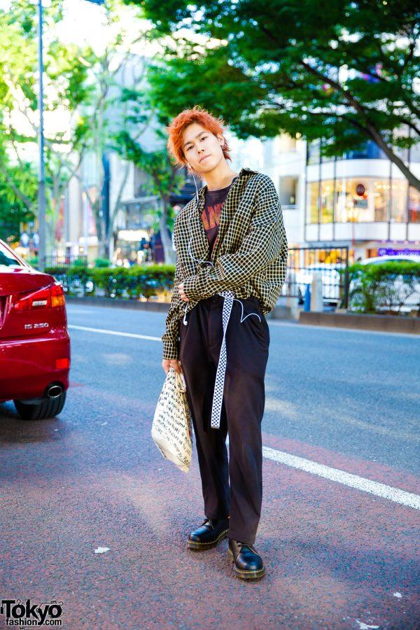 Harajuku Street Style w/ Orange Hair, Checkered Shirt, Dr. Martens Shoes & Canvas Tote