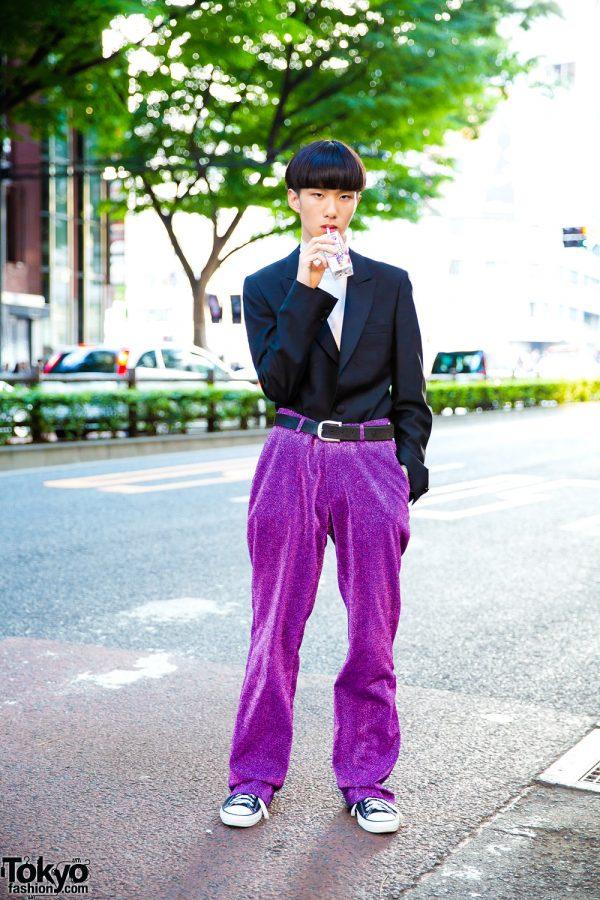 Japanese Minimalist Street Style w/ Balenciaga, Gucci, Converse, Comme des Garcons & Purple Glitter Pants