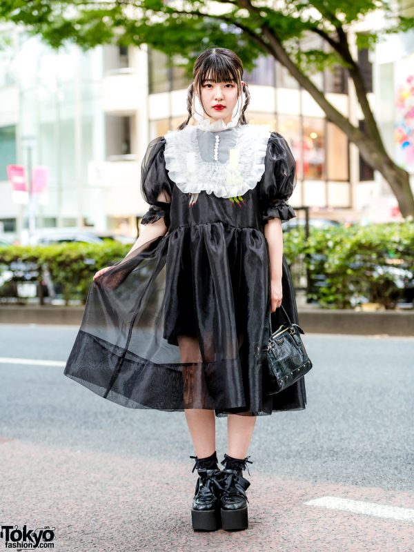 Harajuku Girl in HEIHEI Sheer Ruffle Monochrome Dress & Ribbon Laces Platforms