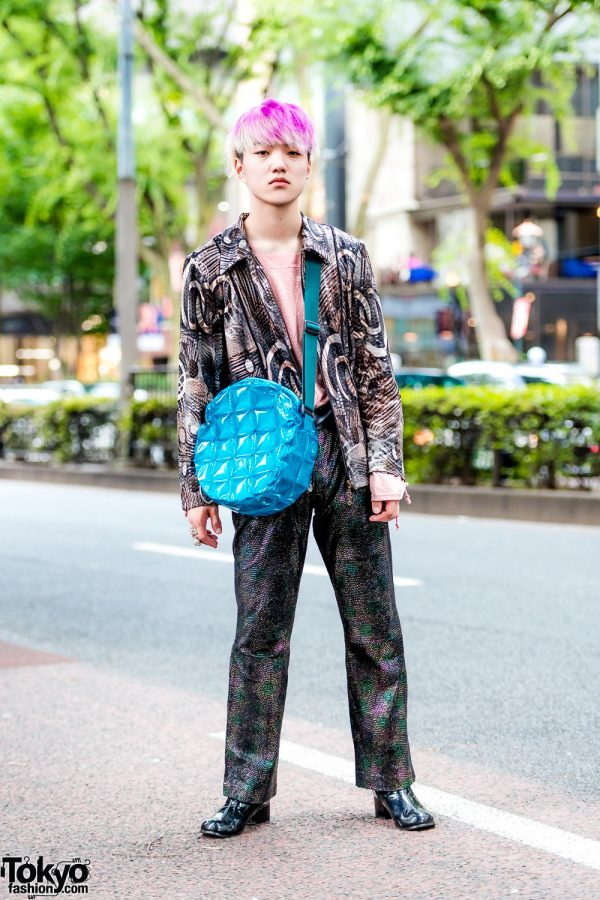 Mixed Prints Street Style w/ New York Joe Textured Shirt, Mercibeaucoup Top, Kinji Metallic Pants & Quilted Bag