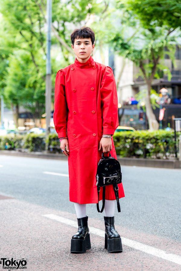 Red & Black Harajuku Street Style w/ Red Coat, Funtasma Platform Boots & Forever21 Mini Backpack