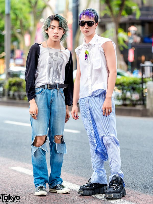 Harajuku Distressed & Remake Street Styles w/ Stussy, Levi's, Converse CT70 & New Rock