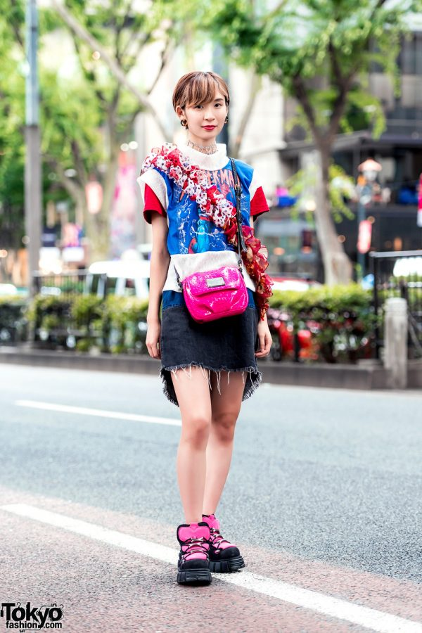 Harajuku Street Style w/ Tomoki Yurita Remake Top, Denim Skirt, New Rock Platforms & Marc Jacobs