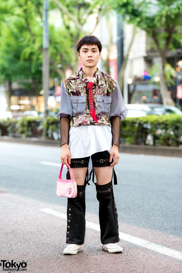 Japanese Street Style w/ Floral Print Shirt, Cut Out Pants, Converse Sneakers & Hello Kitty Handbag