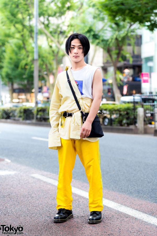 Yellow Harajuku Street Style w/ Gingham Shirt, Sleeveless Top, Yellow Pants & Dr. Martens Boots
