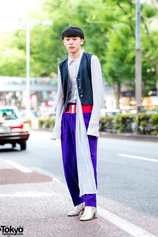 Retro Vintage Street Style w/ Suede Vest, Alexander McQueen Striped Shirt, Purple Pants & Maison Margiela Silver Boots