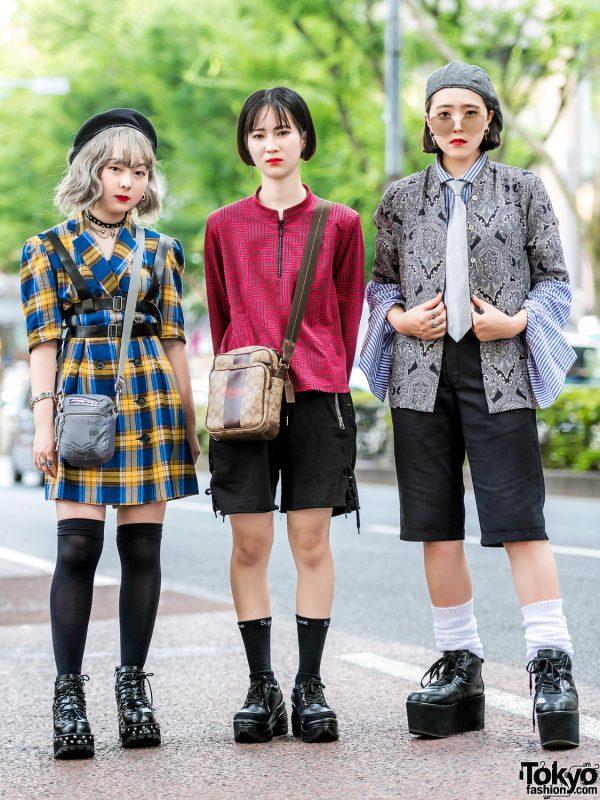 Harajuku Trio's Street Styles w/ Bershka, Never Mind the XU, ME Harajuku, Faith Tokyo, Yosuke, WEGO, Coach, Dickies & Punyus