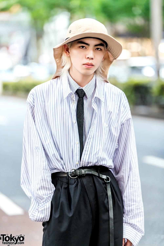 Japanese Streetwear Look w/ Dressedundressed Layered Shirts, Diego Vanassibara & Tan Hat