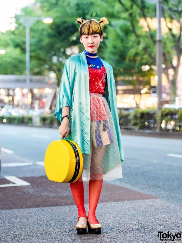 Vintage Harajuku Street Style w/ Satin Jacket, Sequin Top, Sheer Skirt & Toga Platforms