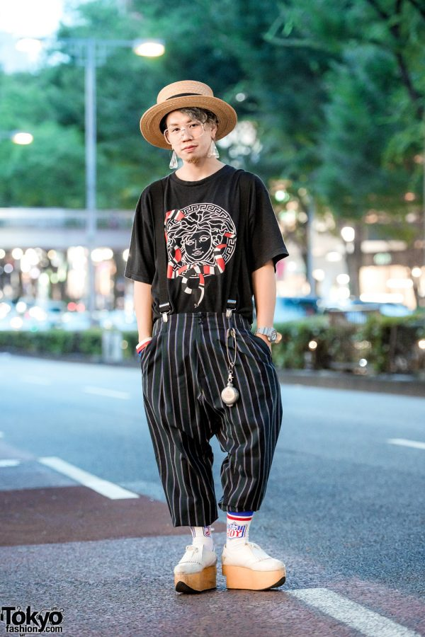 Harajuku Mens Street Style w/ Quite Well T-Shirt, Striped Pants, Suspenders & Vivienne Westwood Rocking Horse Shoes