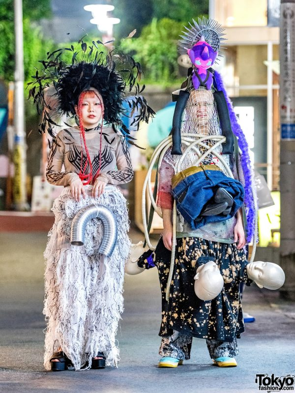 Handmade Japanese Remake Avant-Garde Street Styles w/ Dolls Kill, Cordyceps, Mused Mannequin Head Skirt, Feather Headdress & Pokemon Poipole Headpiece