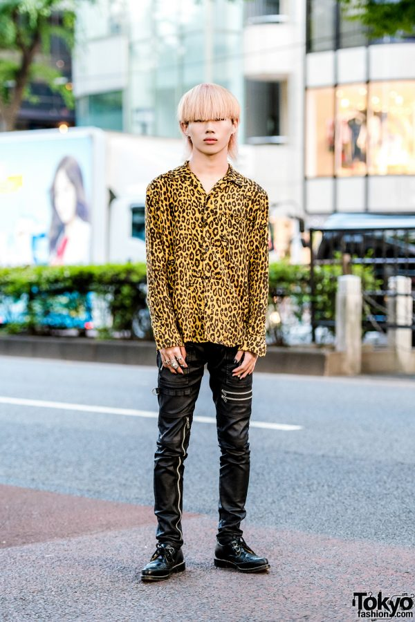 Hysteric Glamour Leopard Print Shirt, 99%IS- Leather Pants & George Cox D Ring Creepers in Harajuku