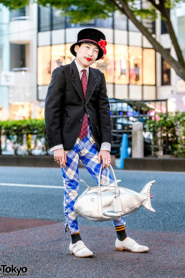 Japanese Street Style w/ Thom Browne, Hilditch & Key, Cheaney And Sons, Charles Jeffrey, Top Hat & Shark Bag