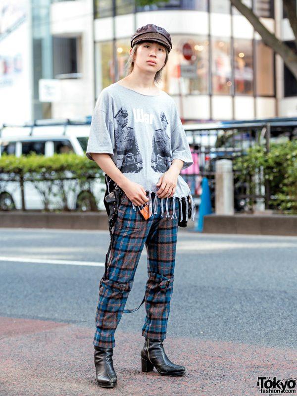 Harajuku Fringe & Plaid Street Style w/ Banal Chic Bizarre, Phingerin Bondage Pants, Leather Boots, Newsboy Cap & Vintage Waist Bag