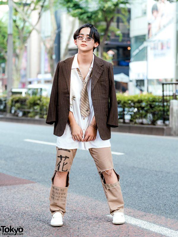 Vintage Harajuku Streetwear Fashion w/ Pinstripe Blazer, Striped Necktie, Kanji Print Ripped Pants & White Loafers