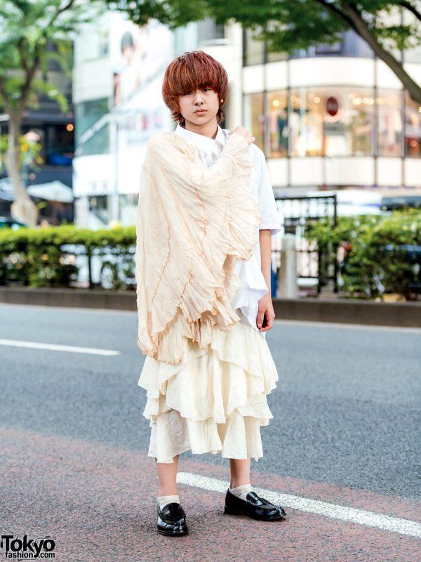 Remake Minimalist Street Style w/ Messy Bob, One-Sleeve Ruffle Shirt, Asymmetrical Skirt & Leather Loafers