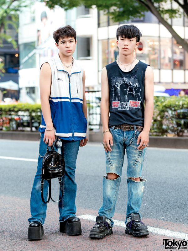 Harajuku Casual Mens' Street Styles w/ Simple Plan Top, Funtasma Tall Boots, Forever 21 Mini-Backpack, Vivienne Westwood Flask Keychain & New Rock Sneakers