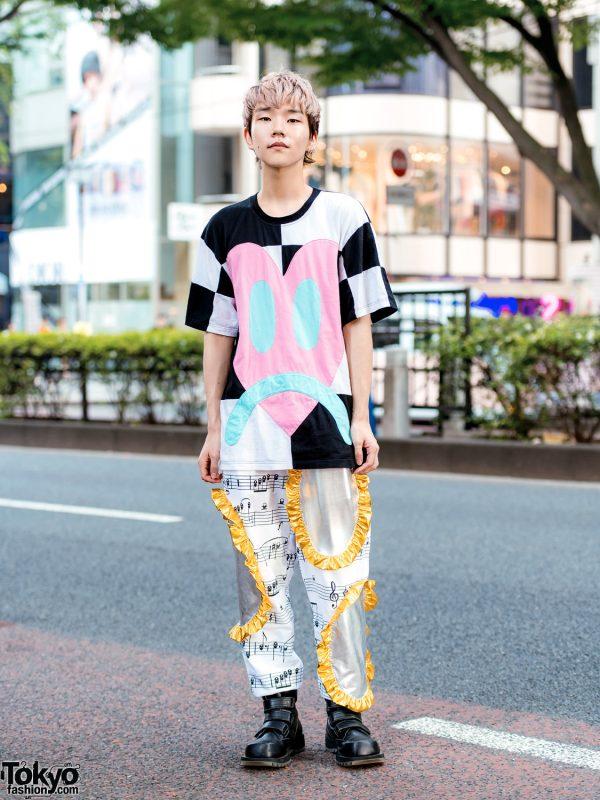 Tokyo Street Style w/ Daniel Palillo Heart Shirt, Sheet Music Pants & Koji Kuga Boots