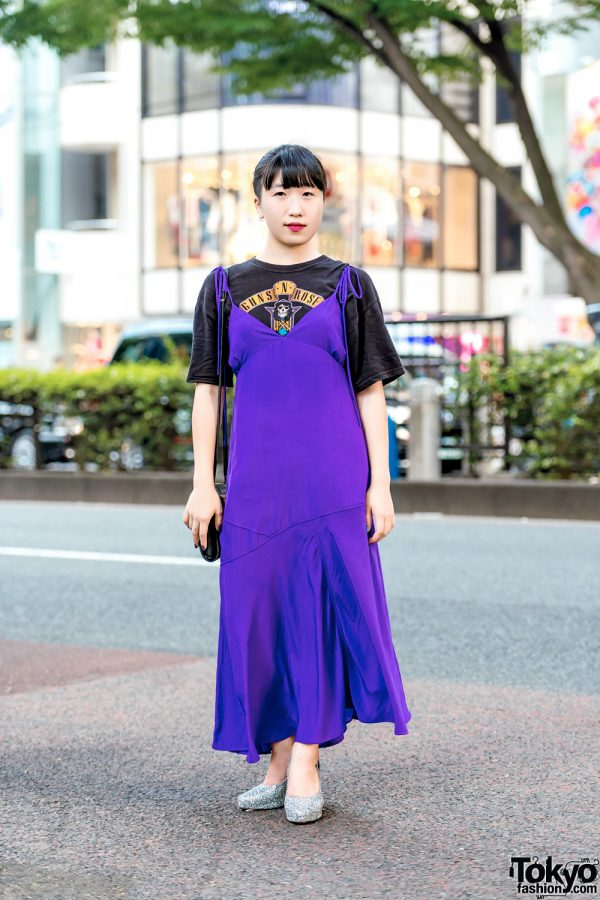 Casual Layered Street Style in Harajuku w/ Vintage Guns N' Roses Tee, K3 Dress, Croon A Song Glitter Shoes & Vintage Sling Bag