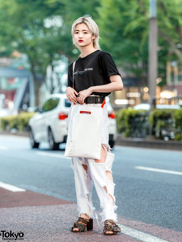 Monochrome Streetwear Style w/ Blonde Shaggy Hair, Salix T-Shirt, Ikumi Cutout Pants, Ruffle Sandals & MM6 Bag