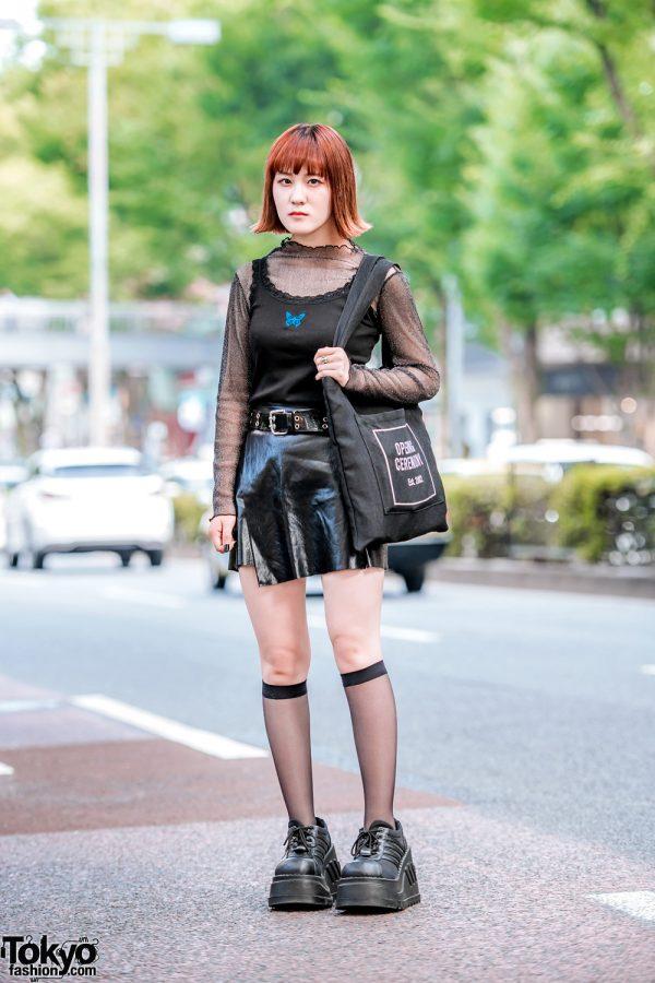 All Black Harajuku Street Style w/ Demonia Platforms, ME Harajuku, Bubbles & Opening Ceremony