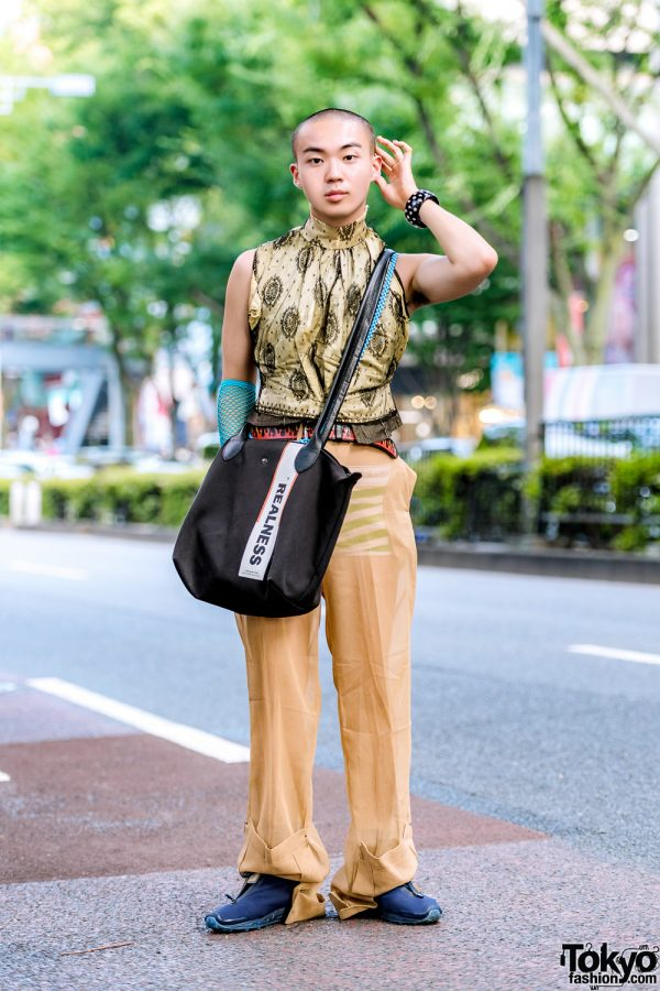 "Tan Harajuku Streetwear w/ Vintage Mesh Top, Toga Sheer Pants, Reebok Sneakers & Longchamp x Shayne Oliver ""Realness"" Bag"