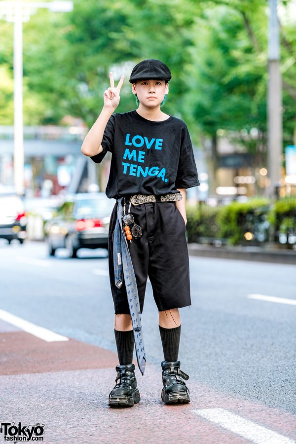 All Black Japanese Streetwear w/ Tenga T-Shirt, Dickies Shorts, New Rock Strap Shoes & BlackMeans Knuckle Duster Lighter Holder
