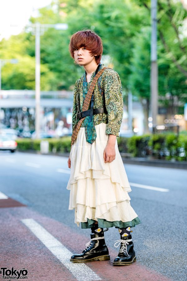 Double Neck Ties & Vintage Fashion in Harajuku w/ Leather Harness, Print Shirt, Tiered Skirt & Dr. Martens Boots