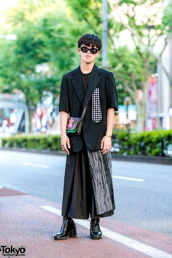 All Black Japanese Streetwear w/ Distressed Blazer, Polka Dot Necktie, Wide Leg Pants, Zara Ankle Boots & Sling Bag