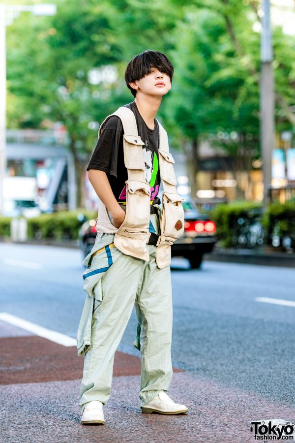 Sporty Street Style in Harajuku w/ Adidas Jacket & Track Pants, Big Bang Theory T-Shirt, Revo Jeans Multiple Pocket Vest & Penny Loafers