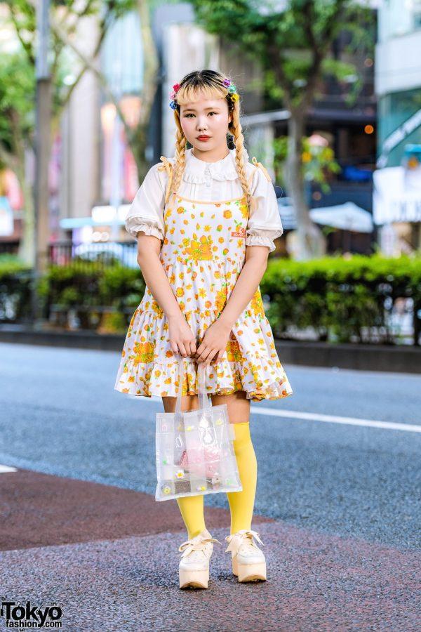 Yellow Harajuku Street Style w/ Twin Braids, Neon Moon Floral Dress, Ruffle Blouse, Tokyo Bopper Cutout Shoes & Yuriko Eto Tote