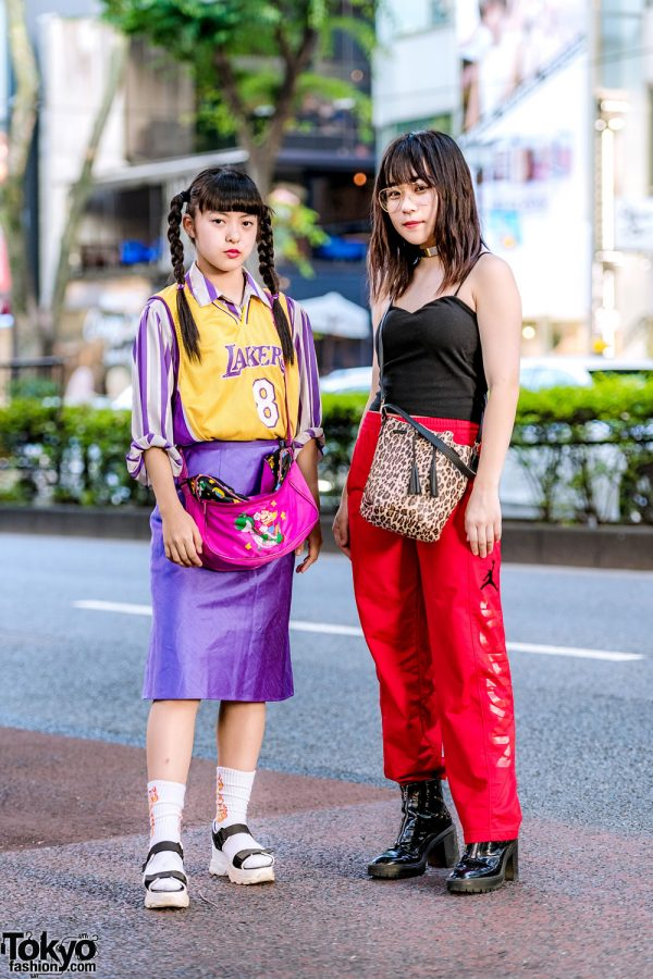 Japanese Girls' Street Styles w/ Lakers Jersey, RRR Show Room, Jordan, WEGO, Forever21 & Leopard Print Bag
