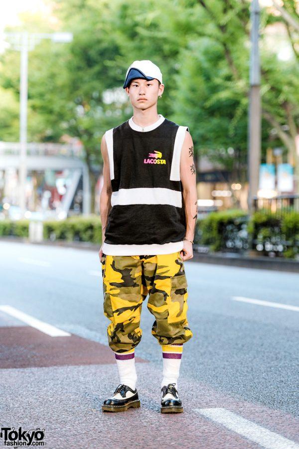 Japanese Mens Streetwear w/ San To Nibun No Ichi, Rothco Camouflage Pants & Dr Martens Creepers