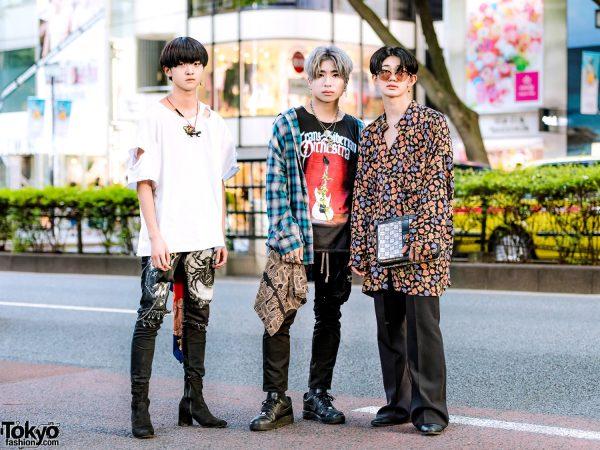 Mens Streetwear Styles in Harajuku w/ H&M, GU, Christopher Nemeth, Nike, Empty Noir, Givenchy & Trans Siberian Orchestra Band Shirt
