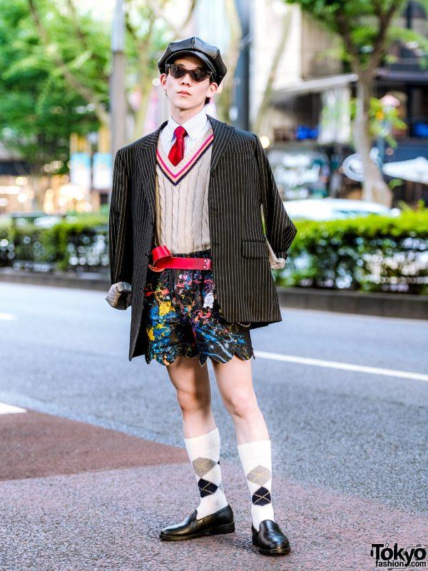 Harajuku Shop Staff in United Arrows, Zara, Charles Jeffrey Loverboy Painted Shorts, Argyle Socks & Kleman Loafers