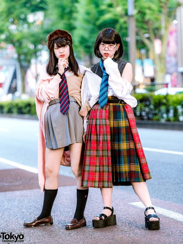 Japanese School Uniform Inspired Harajuku Street Styles w/ Neck Ties, Cardigan, Plaid Multi-Panel Skirt & Loafers