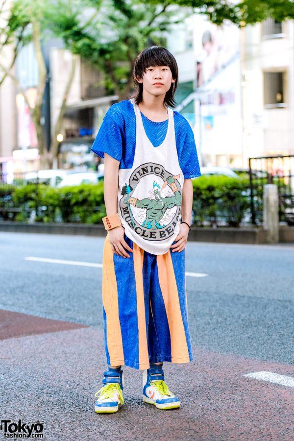Vintage Harajuku Sporty Style w/ Venice Muscle Beach Tank Top, Mesh Shirt, Striped Denim Pants & Converse Colorblock Sneakers