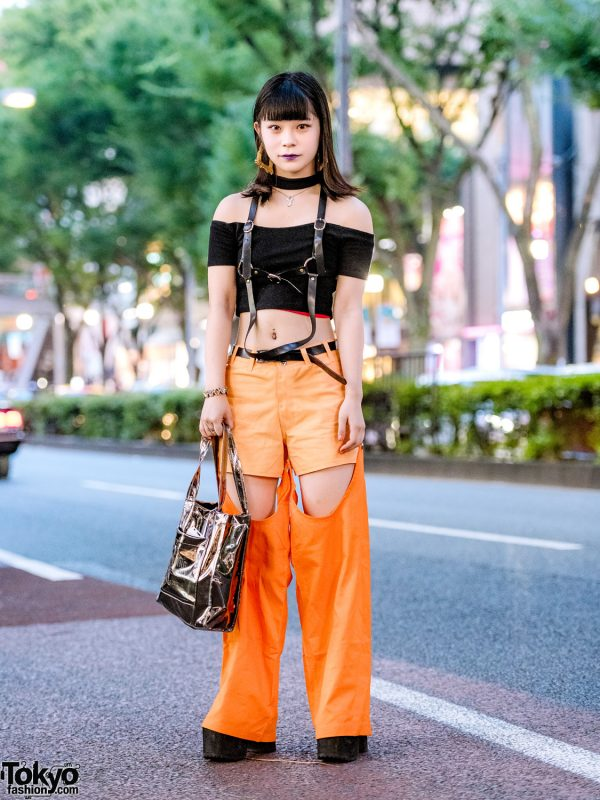 Orange-And-Black Edgy Streetwear in Harajuku w/ Bubbles Cropped Top, Pinnap Shorts w/ Stirrups, Oh Pearl, Bubbles & Opening Ceremony Tote