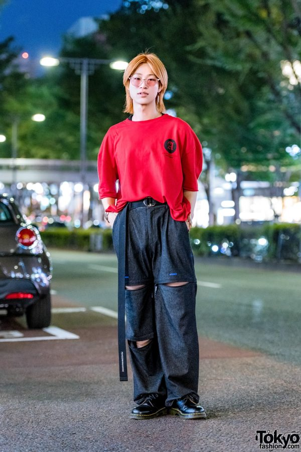 Japanese Hair Stylist's Street Style w/ Orange Shaggy Hair, Another Youth T-Shirt, ESC Studio Cutout Pants & Dr. Martens Boots