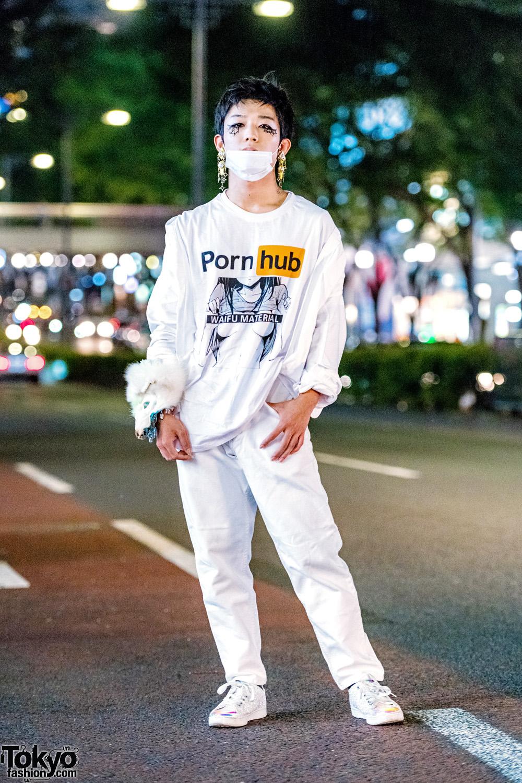 All White Harajuku Street Style W Pornhub Shirt Vintage