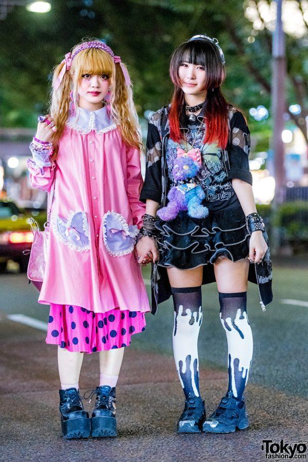 Kawaii Pink & Black Harajuku Street Styles w/ Handmade Dress, Ank Rouge Glitter Bag, Mint Neko Mesh Jacket, Glavil Ruffle Skirt & Teddy Monster Plushie