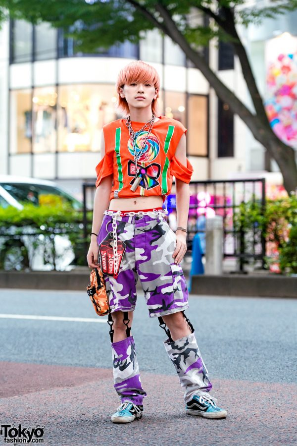 Harajuku Cut Out Remake Street Style w/ Cropped Shirt, Supreme, Camo Pants, Vans Sneakers & M+RC Noir Camouflage Pouch