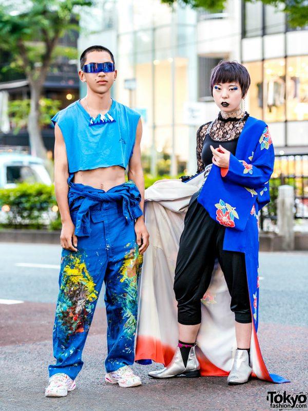 Avant-Garde Streetwear in Harajuku w/ Tsunagi Paint-Splatter Overalls, Hoyajuku Mountain Necklace, Spinns Kimono & Uniqlo Harem Pants