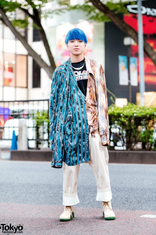 Blue-Haired Harajuku Guy in Remake Mixed Print Shirt, Back To The Future T-Shirt, Comme des Garcons Homme Plus Khaki Pants & 20471120 Boots