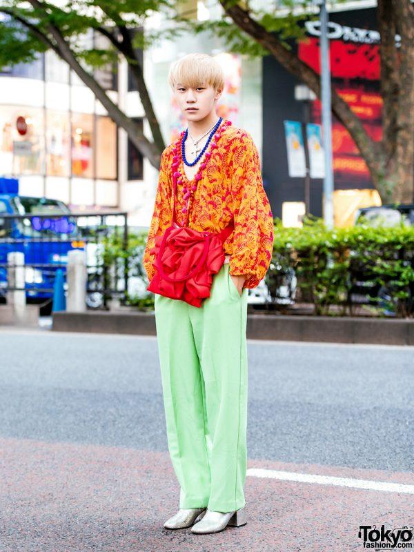Vintage Harajuku Street Style w/ Pom Pom Top, Mint Pants, Maison Margiela Boots & Shin Ruffle Sling Bag