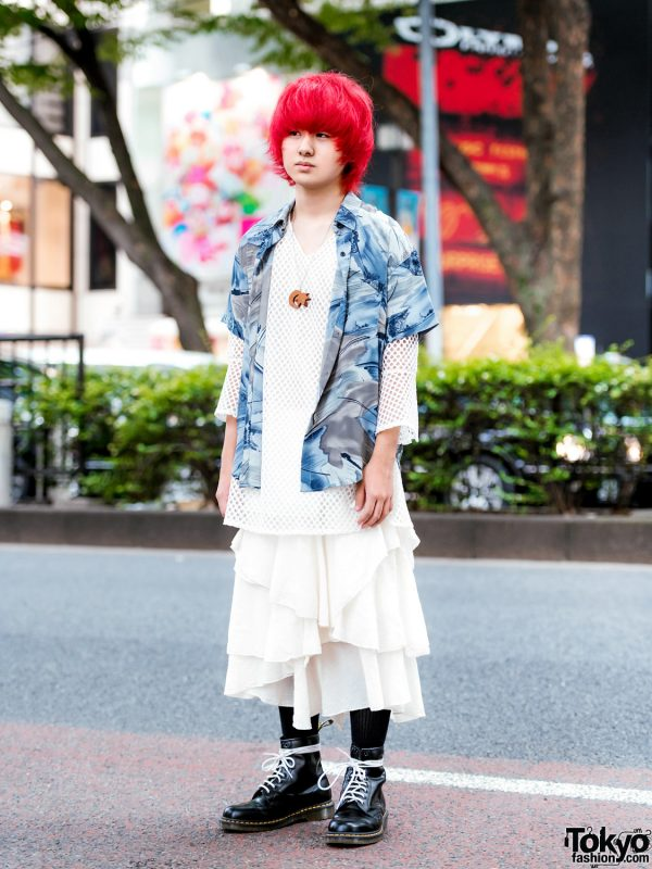 Vintage Harajuku Street Style w/ Red Bob, Mesh Top, Tiered Skirt & Dr. Martens Boots