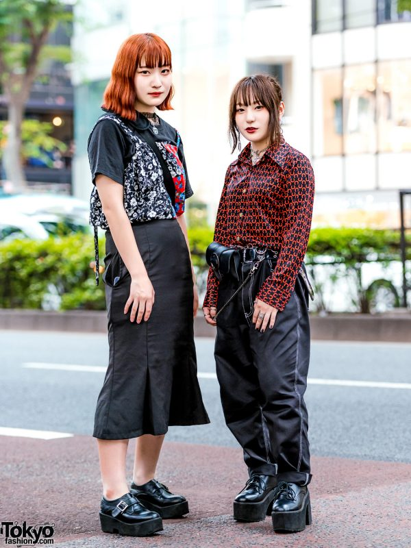Harajuku Girls' Black Vintage Street Styles w/ More Than Dope Floral Top, Horseshoe Print Blouse, Mermaid Skirt & Faith Tokyo Accessories