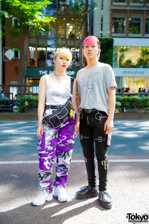 Purple Camo Pants & Pink Hair in Harajuku w/ Faith Tokyo, OY, Fila, Eight Beat, Another Youth, Demonia & Vivienne Westwood