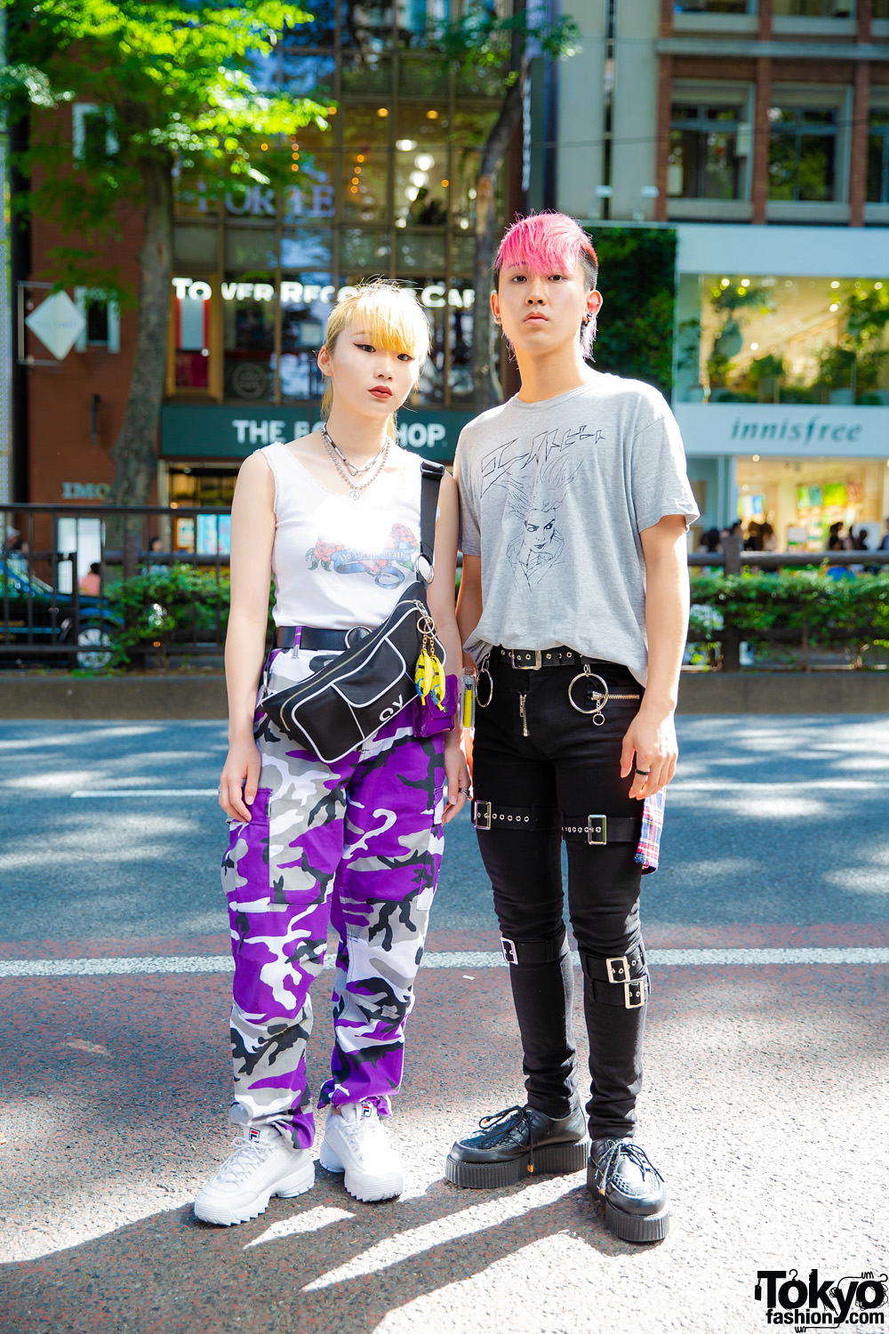 781ea59a7d88 Purple Camo Pants & Pink Hair in Harajuku w/ Faith Tokyo, OY, Fila, Eight  Beat, Another Youth, Demonia & Vivienne Westwood