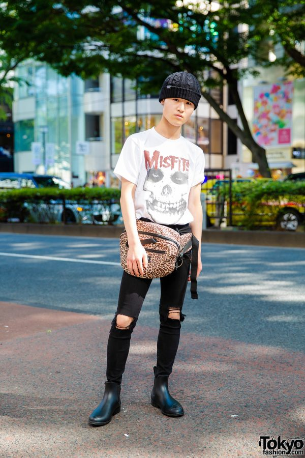 Harajuku Guy in Misfits Tee & Animal Print Bag w/ Wall of Fame, Rose Bud, Thrasher & Hito1